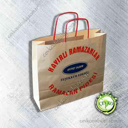 Kraft Burgu saplı çanta